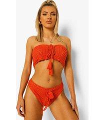 gehaakt bikini broekje met veters en hoge taille, orange