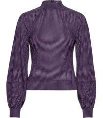seersucker check blouse lange mouwen paars ganni