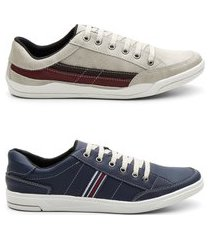 kit 2 pares sapatênis masculino tênis estilo casual conforto rato e azul 44