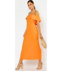 maxi-jurk met boothals en ruches, oranje