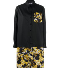 versace jeans couture baroque print shirt dress - black