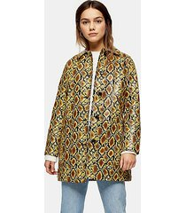 petite yellow snake print car coat - yellow