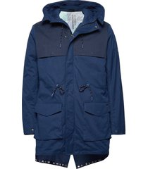 ams blauw parka with transparent quilted inner jacket parka jas blauw scotch & soda
