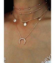 gargantilla oro luna redonda colgante collar cavicle multicapa