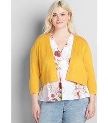 lane bryant women's 3/4-sleeve cropped cardigan 26/28 tropical yellow