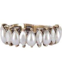 anel armazem rr bijoux mini gotas perola dourado - feminino