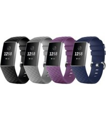 posh tech unisex fitbit versa charge 3 assorted silicone watch replacement bands - pack of 4