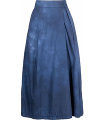 barena tie-dye print pleated skirt - blue