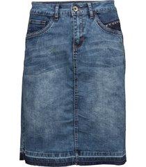 patched denim skirt knälång kjol blå cream