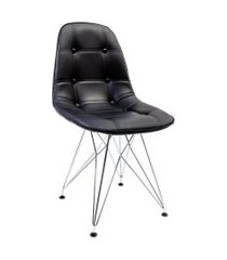 cadeira eiffel ii cromada e preta