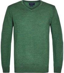 profuomo pullover groen merinowol v-hals