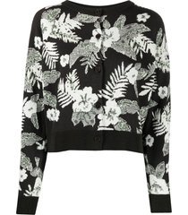 barrie floral knit cardigan - green