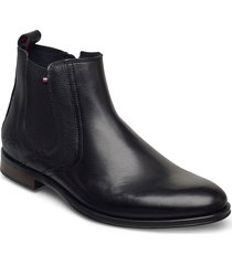 casual leather mix chelsea stövletter chelsea boot svart tommy hilfiger