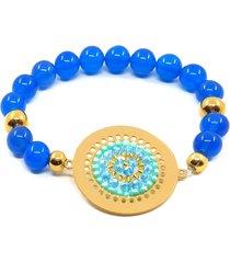 pulsera mujer en acero con piedras naturales amme - azul y dorado