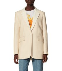women's sandro suit blazer, size 2 us - beige