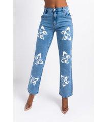 akira butterflies high rise straight leg jeans