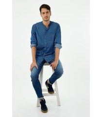 camisa de hombre, silueta classic cuello nerú manga larga, 100% algodón