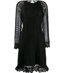 temperley london sunbird open-knit dress - black
