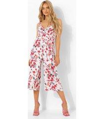 geweven bloemen culotte jumpsuit met bandjes, white