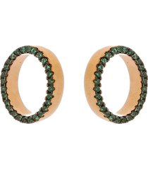 brinco oval folheado a ouro 18k tudo joias com zircã´nias verde - verde - feminino - dafiti