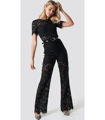 na-kd party wide leg lace jumpsuit - black