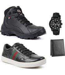 kit bota stefanini coturno masculina + sapatênis stefanini masculino+ relógio + carteira - masculino