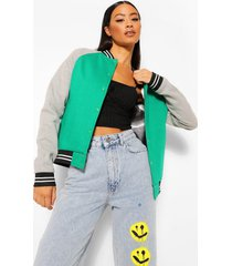 colour block varsity bomberjack, green
