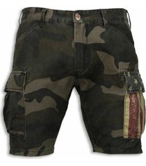 korte broek bread buttons korte broeken - slim fit camouflage shorts -