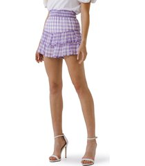 english factory gingham ruffle shorts, size small in lilac at nordstrom
