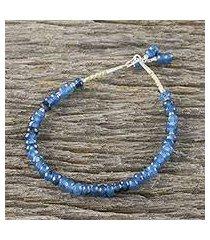 quartz beaded bracelet, 'endless summer blue' (thailand)
