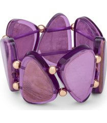 style & co silver-tone bead & colored shell stretch bracelet, created for macy's