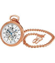 stuhrling women's rose gold stainless steel chain pocket watch 48mm