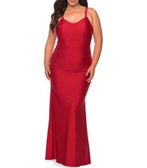 plus size women's la femme ruched satin jersey gown, size 24w - red