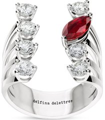 18k white gold and diamond and ruby dots ring