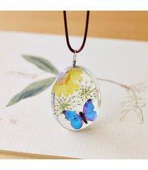 collana pendente vintage a forma di fiore in vetro trasparente con corda di cera, gioielli etnici per le donne