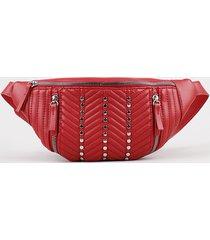 pochete feminina matelassê com tachas vermelha