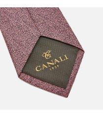 canali men's fuzz pattern silk tie - pink