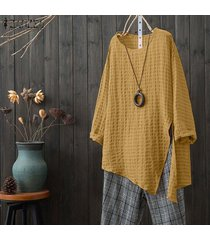 zanzea mujeres floja ocasional sólido superior básico camiseta de manga larga túnica de la blusa -amarillo