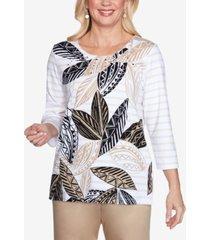 alfred dunner three quarter sleeve batik leaves striped knit top with embellished neckline