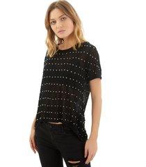 camiseta rosa chá adriane tricot preto feminina (black, gg)