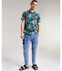 sun + stone men's elio floral linen short sleeve shirt, created for macy's