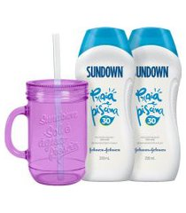 kit 2 protetor solar sundown praia e piscina fps 30 + caneca lilás