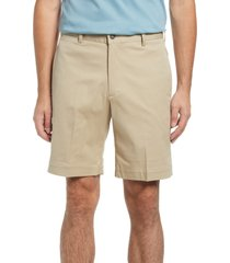 berle charleston flat front stretch twill shorts, size 42 in khaki at nordstrom