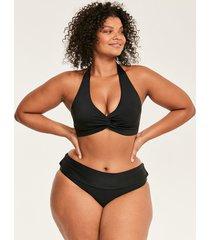 rene soft wrap halter black bikini top