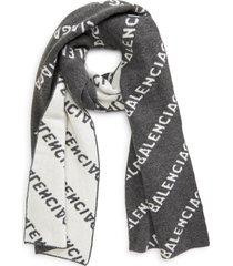 women's balenciaga logo jacquard wool blend scarf, size one size - grey