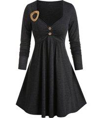 long sleeve buckle detail heathered dress