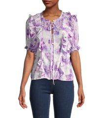 for love & lemons women's zinna floral ruffle blouse - purple - size s
