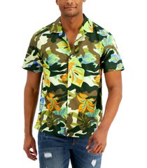 sun + stone men's hudson regular-fit floral-print camp shirt, created for macy's