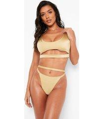 bikini top met uitsnijding en lage ronde hals, gold