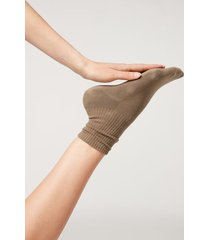 calzedonia short sport socks woman brown size tu